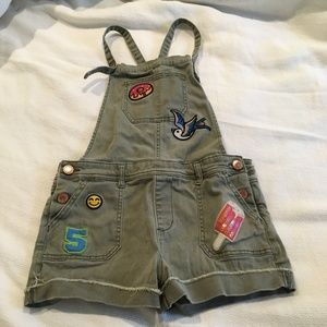 Army Green Overalls with Decorative Patches